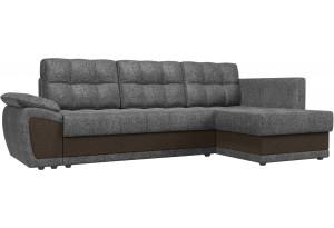 Угловой диван Нэстор прайм Серый/коричневый (Рогожка)