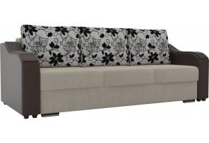 Прямой диван Монако бежевый/коричневый (Микровельвет/Экокожа/флок на рогожке)