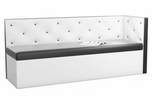 Кухонный диван Салвадор с углом Черный/Белый (Экокожа)