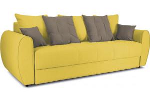 Диван «Бернард» Neo 08 (рогожка) желтый, подушка Neo 04 (рогожка) светло-коричневый