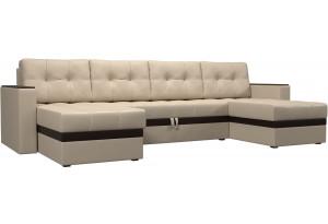 П-образный диван Атланта Бежевый (Экокожа)