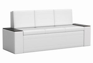 Кухонный прямой диван Лина Белый (Экокожа)