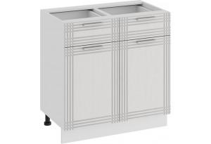 Шкаф напольный с двумя ящиками и двумя дверями «Ольга» (Белый/Белый)