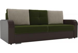 Прямой диван Мейсон зеленый/коричневый (Микровельвет/Экокожа)