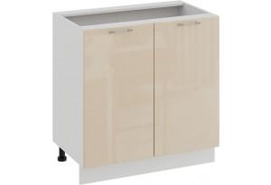 Шкаф напольный с двумя дверями «Весна» (Белый/Ваниль глянец)