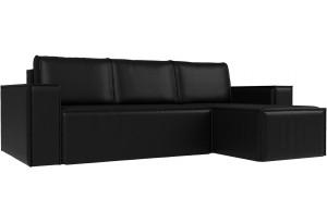 Угловой диван Куба Черный (Экокожа)