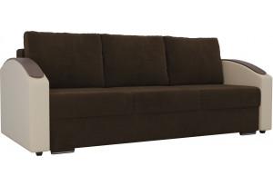 Прямой диван Монако slide Коричневый/Бежевый (Велюр/Экокожа)