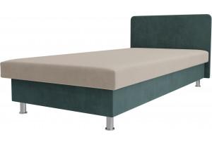 Кровать Мальта бежевый/бирюзовый (Велюр)
