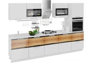 Кухонный гарнитур длиной - 300 см (с пеналом ПБ) Фэнтези (Белый универс)/(Вуд)
