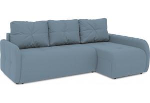 Диван угловой правый «Томас Slim Т2» (Poseidon Ocean (иск.замша) серо-голубой)