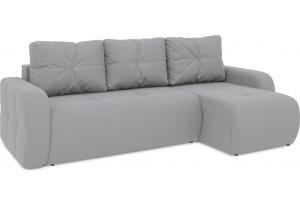 Диван угловой правый «Томас Т1» (Poseidon Grey (иск.замша) серый)