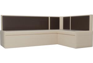 Кухонный угловой диван Кристина бежевый/коричневый (Экокожа)