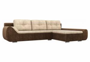 Угловой диван Анталина бежевый/коричневый (Велюр)