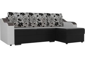Угловой диван Монако Черный/Белый/Цветы (Экокожа/рогожка)