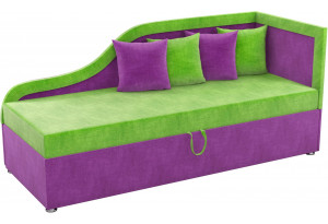 Детский диван Дюна зеленый/фиолетовый (Микровельвет)