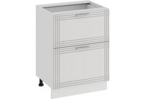 Шкаф напольный с двумя ящиками «Ольга» (Белый/Белый)