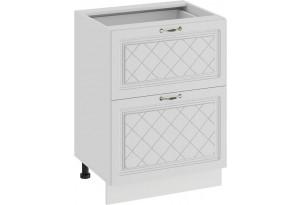 Шкаф напольный с двумя ящиками «Бьянка» (Белый/Дуб белый)