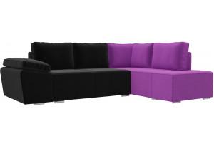 Угловой диван Хавьер черный/фиолетовый (Микровельвет)