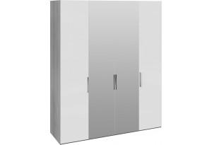 Шкаф комбинированный с 2 глухими и 2 зеркальными дверями «Эста» (Дуб Гамильтон/Белый глянец)