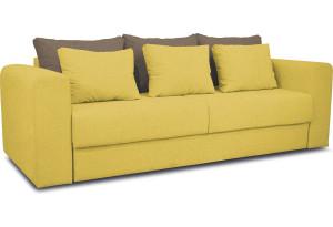 Диван «Вилсон» Neo 08 (рогожка) желтый, подушка Neo 04 (рогожка) светло-коричневый