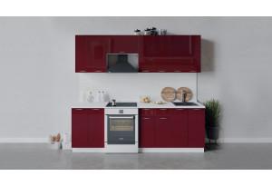 Кухонный гарнитур «Весна» длиной 240 см (Белый/Бордо глянец)