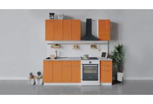 Кухонный гарнитур «Весна» длиной 160 см (Белый/Оранж глянец)