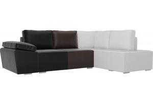 Угловой диван Хавьер черный/коричневый/белый (Экокожа)