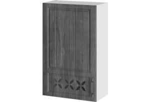Шкаф навесной c декором (левый) (ПРОВАНС (Белый глянец/Санторини темный))