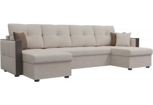 П-образный диван Валенсия Бежевый (Рогожка)