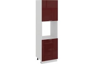 Шкаф-пенал под бытовую технику с двумя дверями «Весна» (Белый/Бордо глянец)