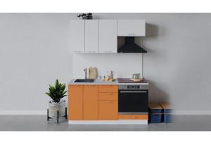 Кухонный гарнитур «Весна» длиной 160 см со шкафом НБ (Белый/Белый глянец/Оранж глянец)