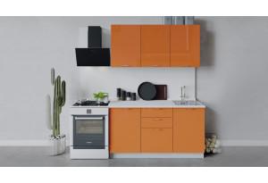 Кухонный гарнитур «Весна» длиной 150 см (Белый/Оранж глянец)