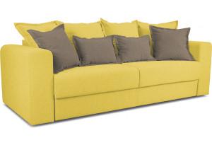 Диван «Раймонд» Neo 08 (рогожка) желтый, подушка Neo 04 (рогожка) светло-коричневый