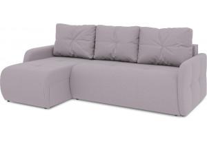 Диван угловой левый «Томас Slim Т1» (Poseidon Pale Lavender (иск.замша) бледно-лавандовый)