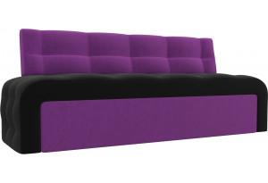 Кухонный прямой диван Люксор черный/фиолетовый (Микровельвет)
