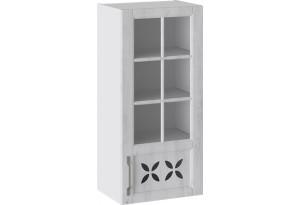 Шкаф навесной cо стеклом и декором (правый) (ПРОВАНС (Белый глянец/Санторини светлый))