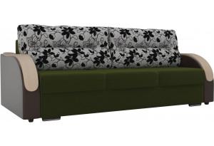 Прямой диван Дарси зеленый/коричневый (Микровельвет/Экокожа/флок на рогожке)