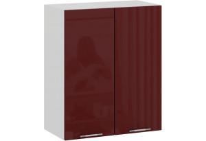 Шкаф навесной c двумя дверями «Весна» (Белый/Бордо глянец)
