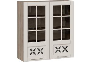 Шкаф навесной cо стеклом и декором (СКАЙ (Бежевый софт))