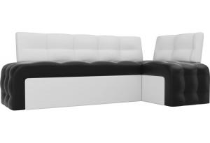 Кухонный угловой диван Люксор Черный/Белый (Экокожа)