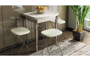 Стол обеденный с хромированными ножками «Лион (мини)» Дуб Белфорт