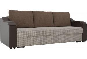 Прямой диван Монако бежевый/коричневый (Корфу/экокожа/рогожка)