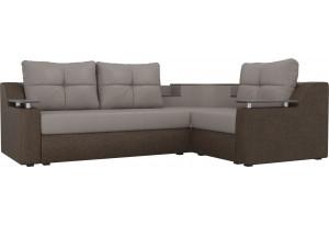 Угловой диван Тесей бежевый/коричневый (Рогожка)
