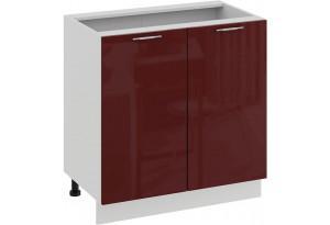 Шкаф напольный с двумя дверями «Весна» (Белый/Бордо глянец)
