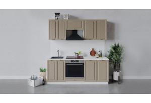 Кухонный гарнитур «Бьянка» длиной 200 см со шкафом НБ (Белый/Дуб кофе)