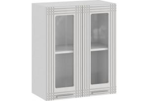 Шкаф навесной c двумя дверями со стеклом «Ольга» (Белый/Белый)