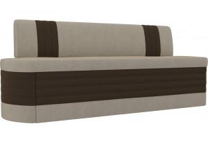 Кухонный прямой диван Токио бежевый/коричневый (Микровельвет)
