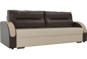 Прямой диван Дарси бежевый/коричневый (Экокожа)