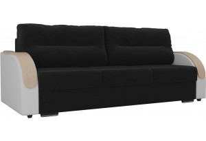 Прямой диван Дарси Черный/Белый (Велюр/Экокожа)
