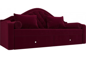Прямой диван софа Сойер Бордовый (Микровельвет)